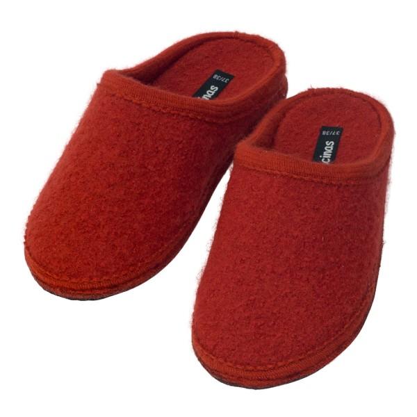 Hausschuhe - Pantoffeln aus gewalkter Schafwolle Terrakotta
