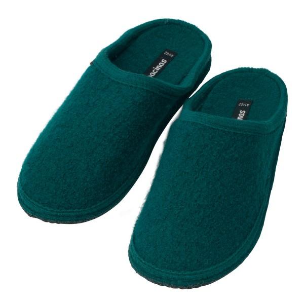 Hausschuhe - Pantoffeln aus gewalkter Schafwolle Kadmiumgrün