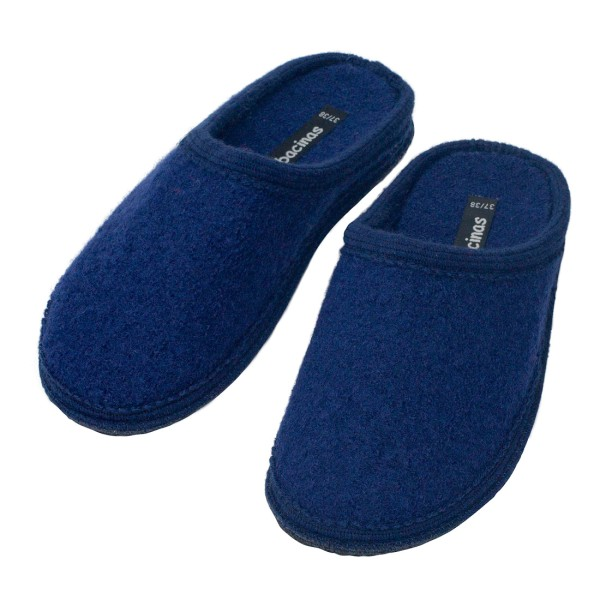 Hausschuhe - Pantoffeln aus gewalkter Schafwolle Dunkelblau