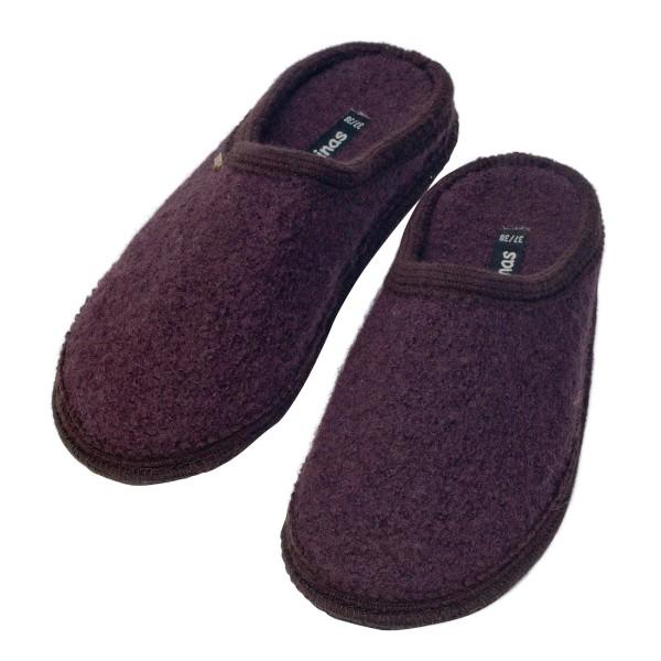 Hausschuhe - Pantoffeln aus gewalkter Schafwolle Kakaobraun